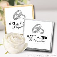 Personalised Wedding Chocolates Favours Silver Rings x10