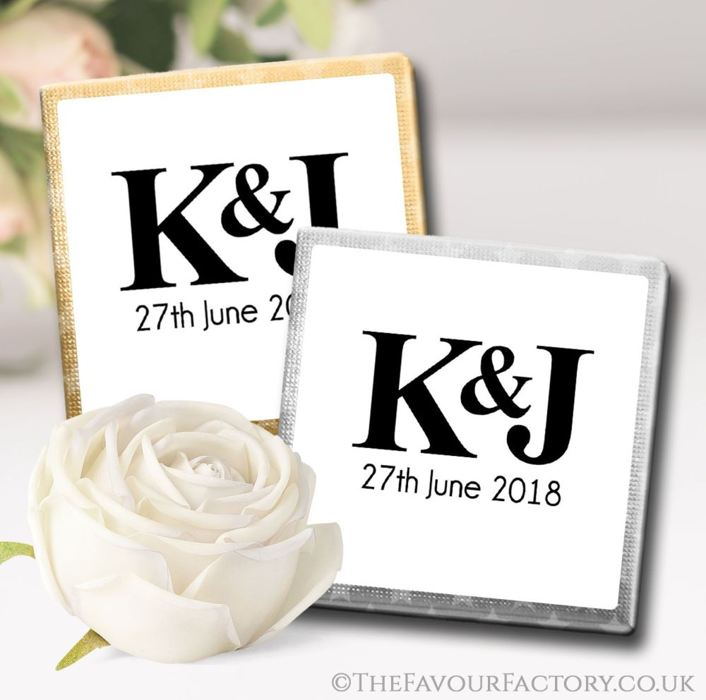Personalised Wedding Chocolates Favours Simply Initials x10