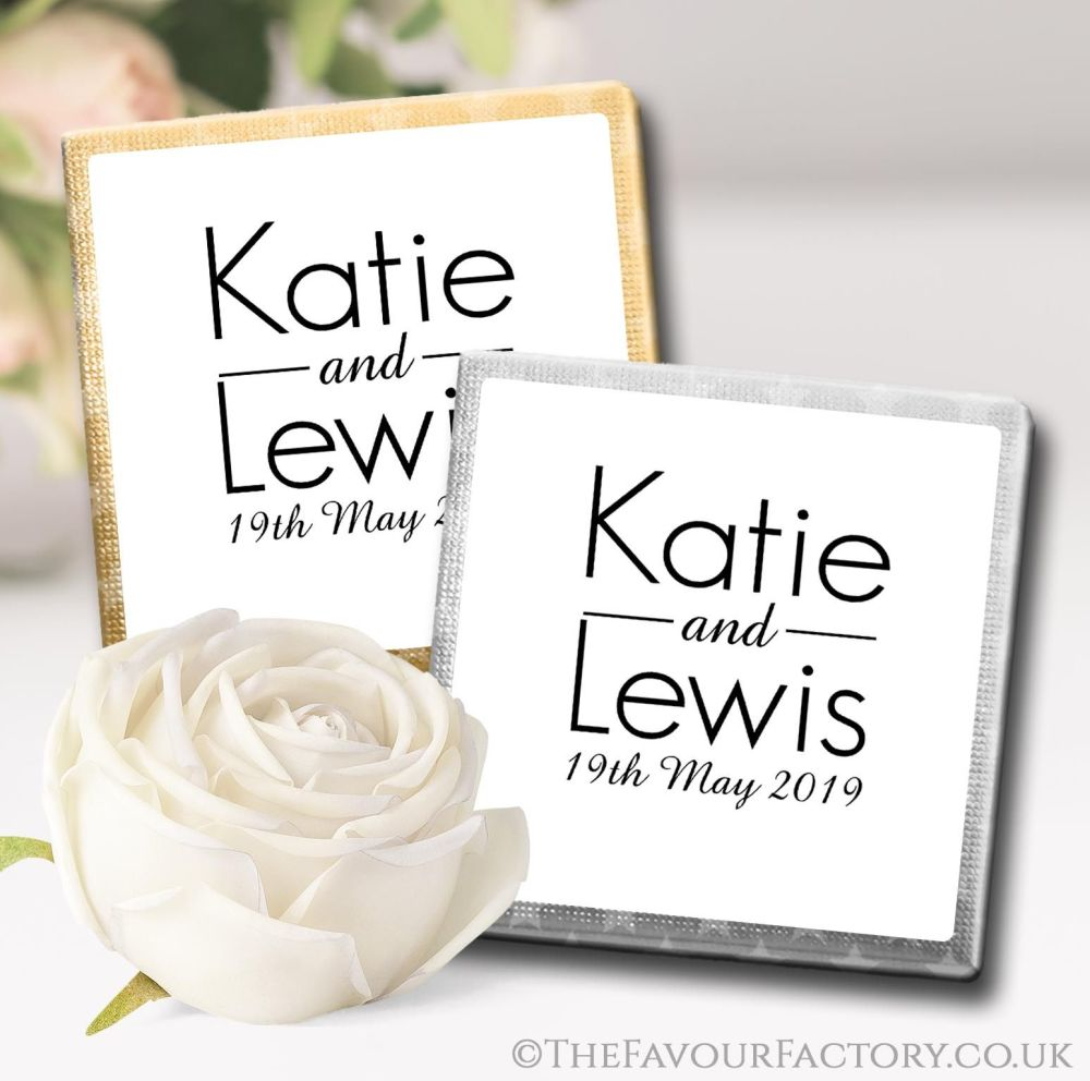 Personalised Wedding Chocolates Modern Monogram x10