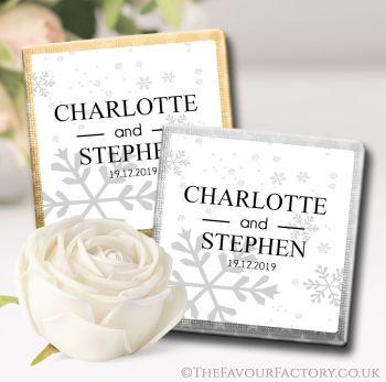 Wedding Chocolates Favours Snowflakes x10