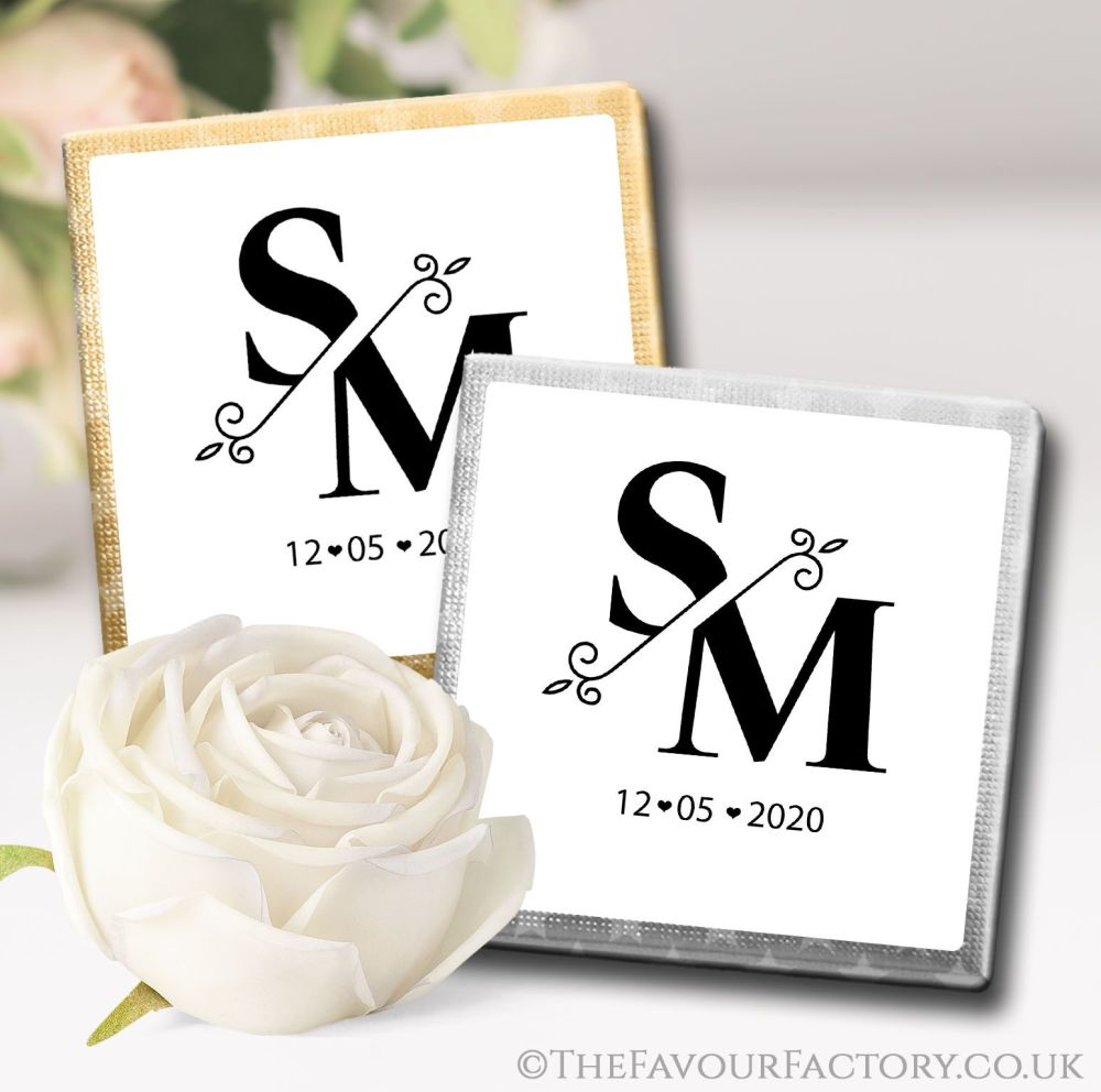 Personalised Wedding Chocolates Split Monogram x10