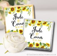 Personalised Wedding Chocolates Sunflowers Floral Drop x10