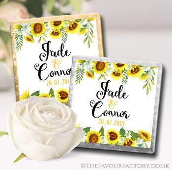 Wedding Chocolates Favours Sunflowers Floral Drop x10