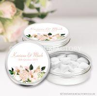 Personalised Wedding Favour Tins Blush Hydrangeas Floral Bouquet x1