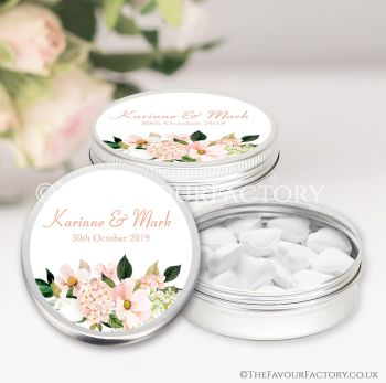 Wedding Favours Keepsakes Tins Personalised Blush Hydrangeas Floral Bouquet x1