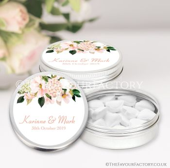 Wedding Favours Keepsakes Tins Personalised Blush Hydrangeas Floral Drop x1