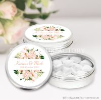 Personalised Wedding Favour Tins Blush Hydrangeas Floral Frame x1