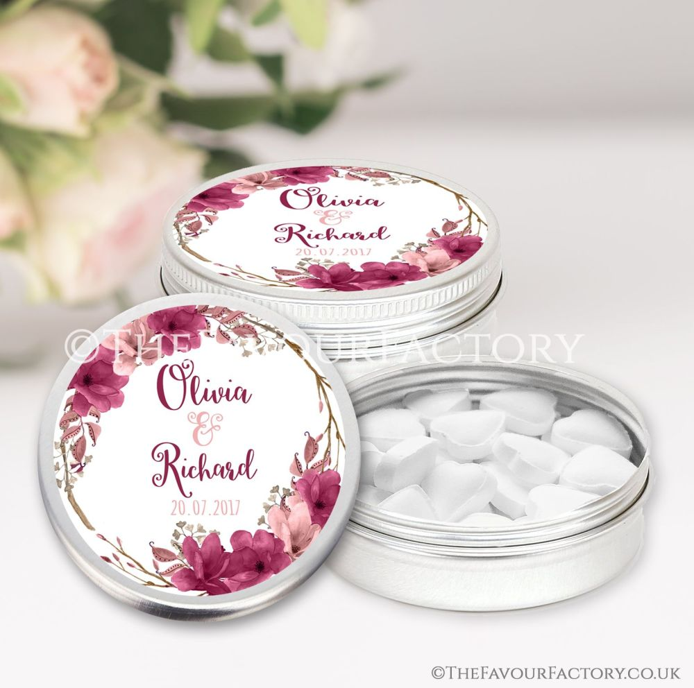 Wedding Favours Keepsakes Tins Personalised  boho floral wreath burgundy bl