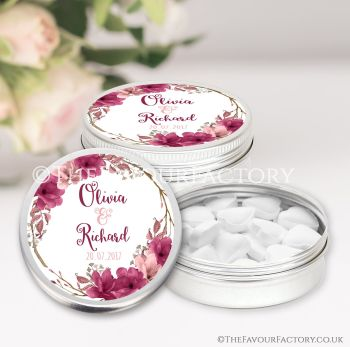 Wedding Favours Keepsakes Tins Personalised Boho Floral Wreath Burgundy Blush x1