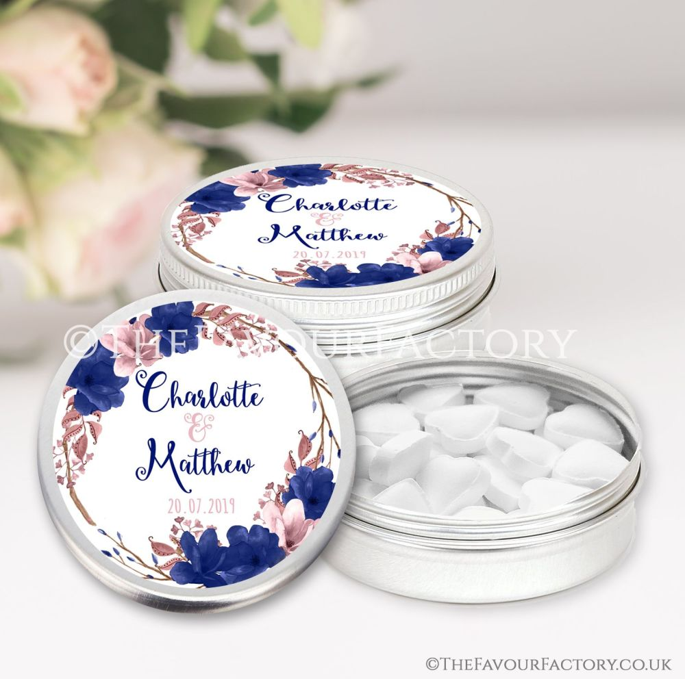 Personalised Wedding Favour Tins Boho Floral Wreath Navy Blush x1