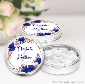 Wedding Favours Keepsakes Tins Personalised Boho Floral Wreath Navy Blush x1