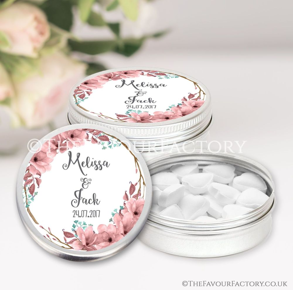 Wedding Favours Keepsakes Tins Personalised boho floral wreath  x1