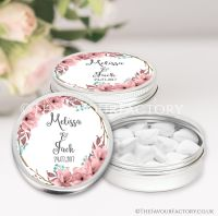 Personalised Wedding Favours Tins Boho Floral Wreath x1