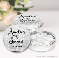 Personalised Wedding Favour Tins Bokeh Sparkles Silver x1