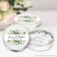 Personalised Wedding Favour Tins Botanical Leaves x1