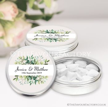Wedding Favours Keepsakes Tins Personalised Botanical Leaf Frame x1