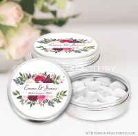Personalised Wedding Favour Tins Burgundy Floral Frame x1