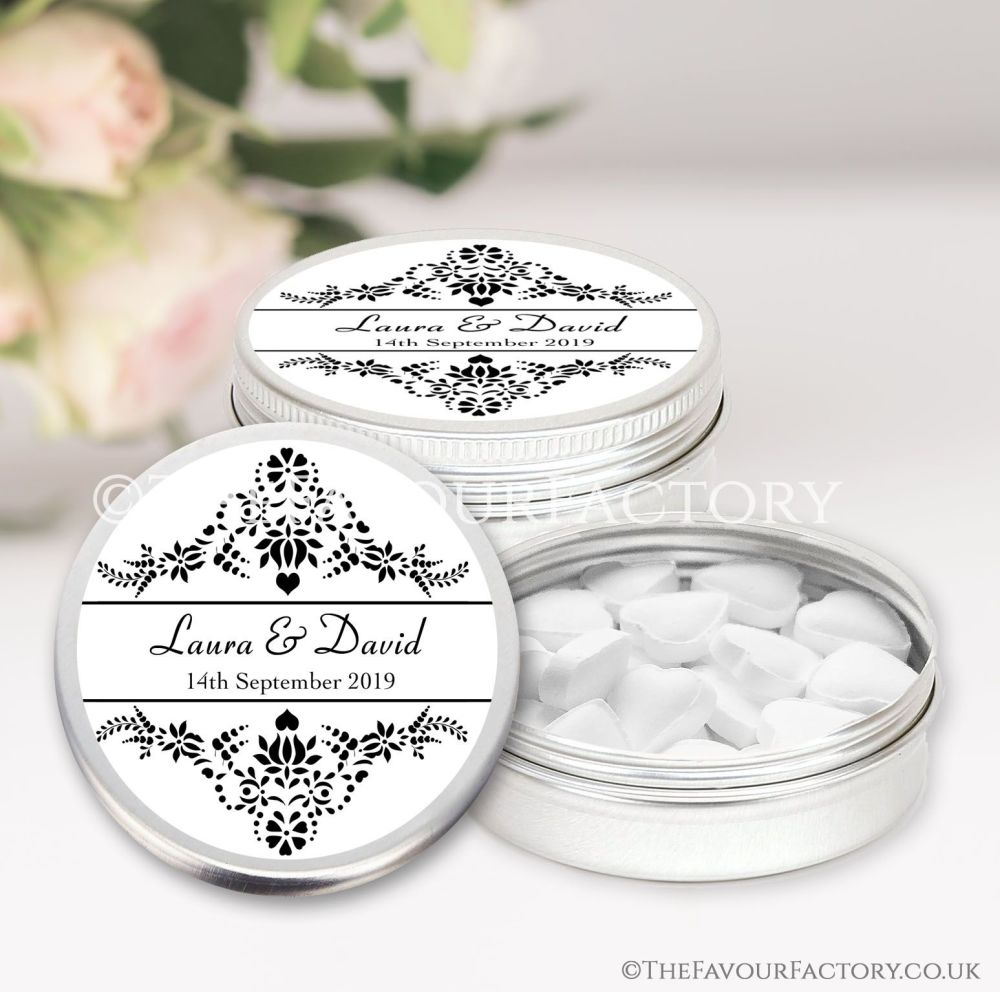Wedding Favours Keepsakes Tins Personalised elegance  x1