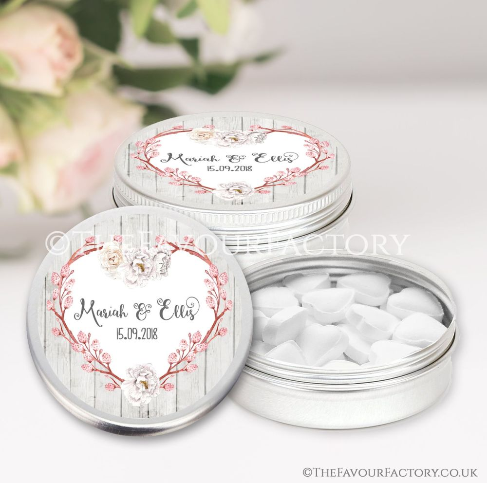 Personalised Wedding Favour Tins Boho Floral Branch Heart x1