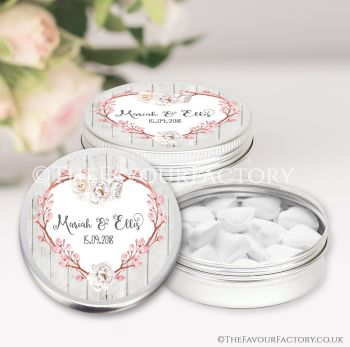 Wedding Favours Keepsakes Tins Personalised Boho Floral Branch Heart x1