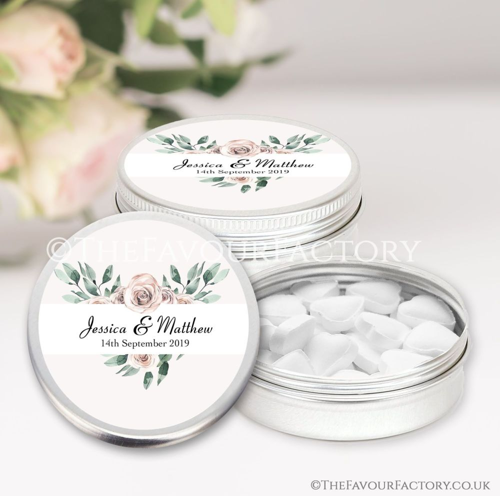 Wedding Favours Keepsakes Tins Personalised floral heart frame  x1