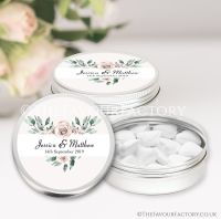 Personalised Wedding Favour Tins Floral Heart x1