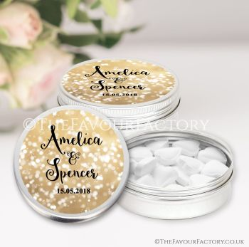 Wedding Favours Keepsakes Tins Personalised Bokeh Sparkles Gold x1