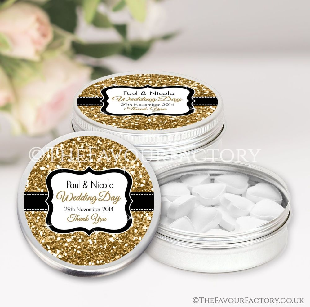 Personalised Wedding Favour Tins Gold Glitter x1
