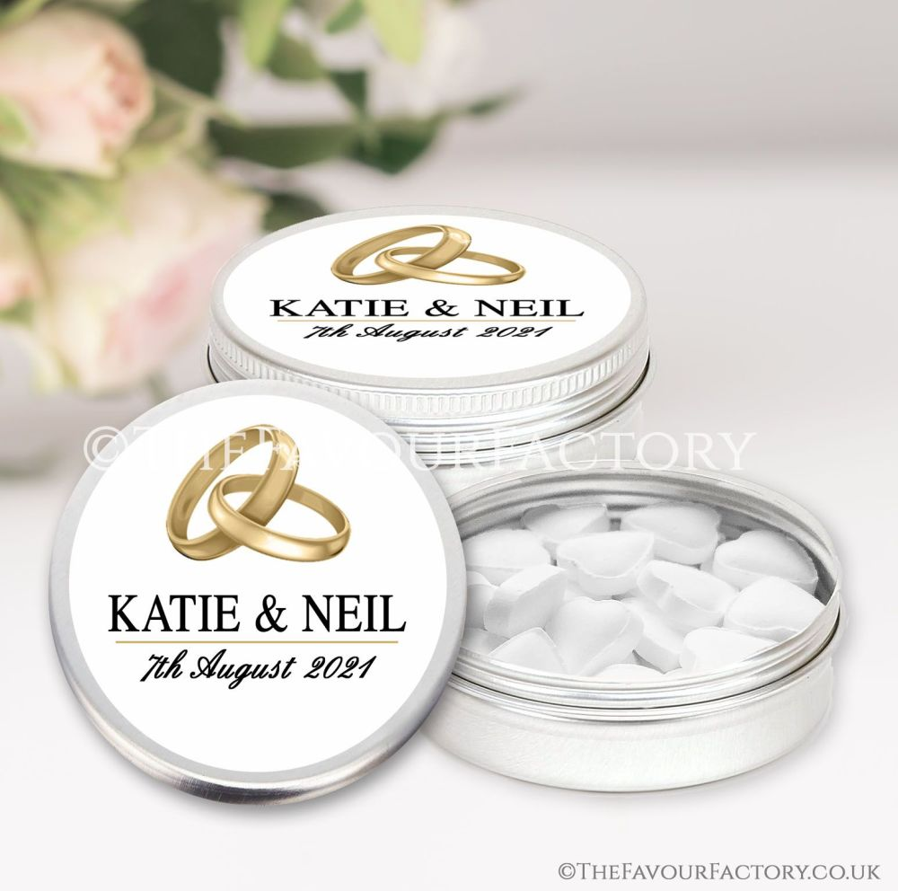 Personalised Wedding Favour Tins Gold Rings x1