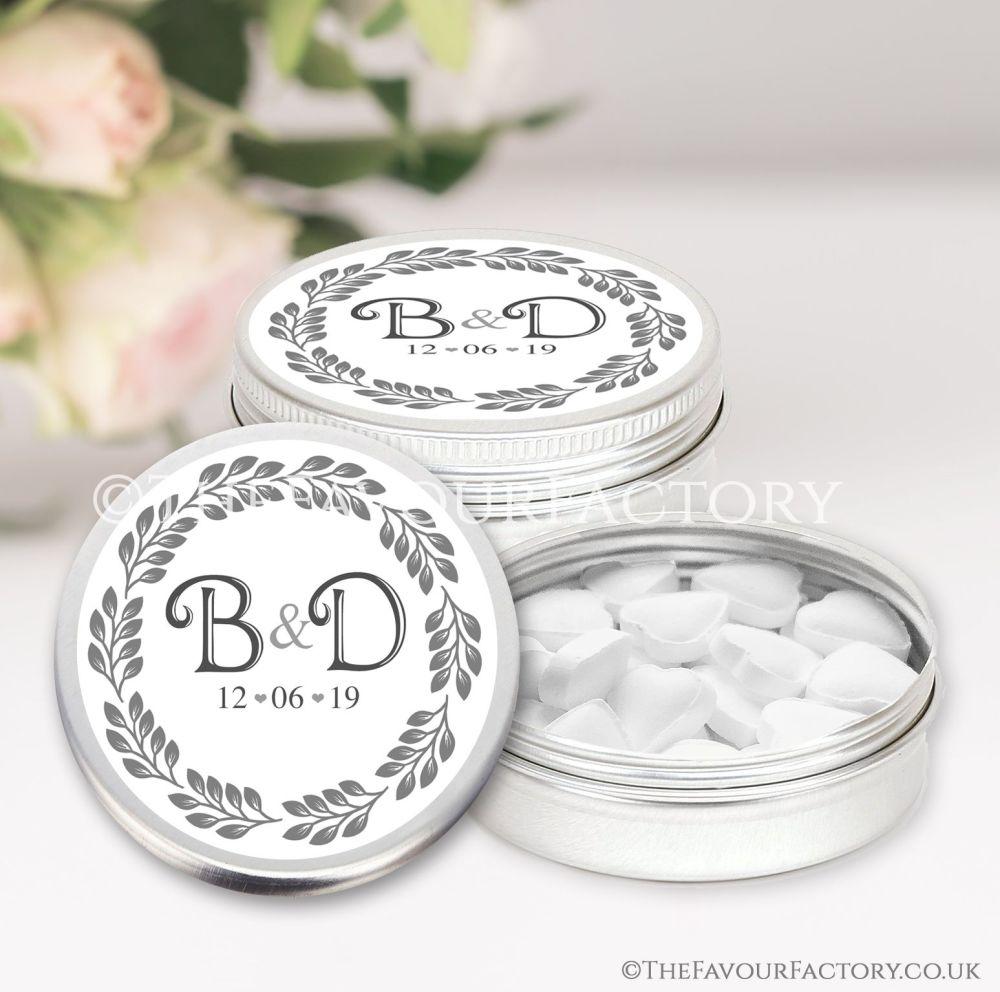 Wedding Favours Keepsakes Tins Personalised Boho Leaf Frame x1