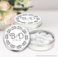 Personalised Wedding Favour Tins Boho Leaf Wreath x1