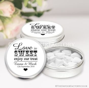 Wedding Favours Keepsakes Tins Personalised Love is Sweet x1
