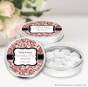Wedding Favours Keepsakes Tins Personalised Rose Gold Glitter x1