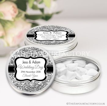 Wedding Favours Keepsakes Tins Personalised Silver Glitter x1