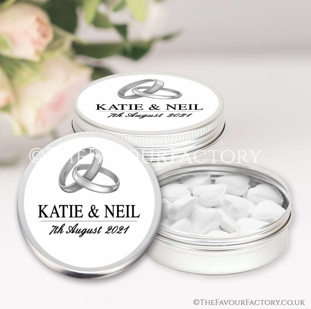 Personalised Wedding Favour Tins Silver Rings x1