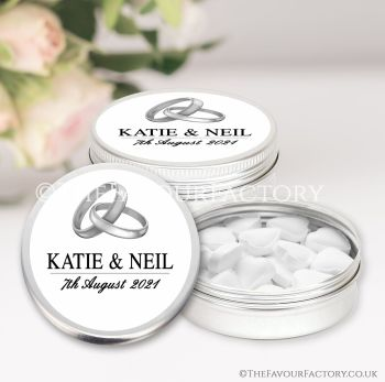 Wedding Favours Keepsakes Tins Personalised Silver Rings x1