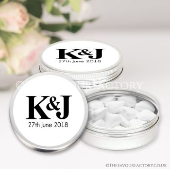 Wedding Favours Keepsakes Tins Personalised Simply Initials x1