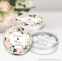 Personalised Wedding Favour Tins Blush Hydrangeas x1