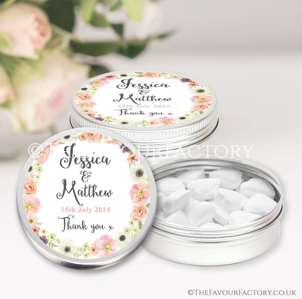 Wedding Favours Keepsakes Tins Personalised watercolour flowers  x1