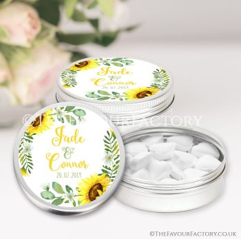 Wedding Favours Keepsakes Tins Personalised Sunflowers x1