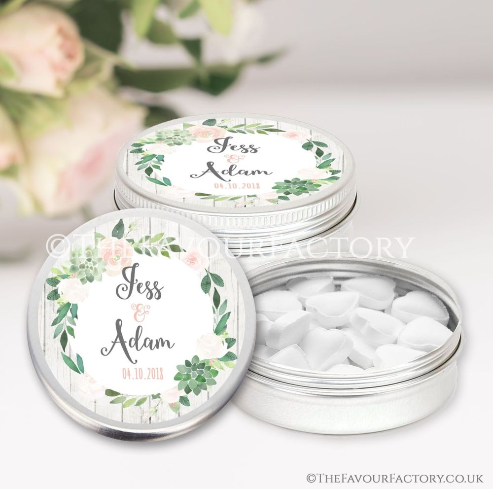 Wedding Favours Keepsakes Tins Personalised succulents  x1