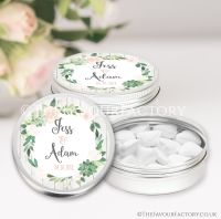 Personalised Wedding Favour Tins Succulents x1