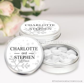 Wedding Favours Keepsakes Tins Personalised Snowflakes x1