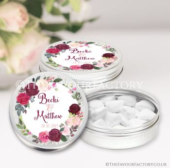 Wedding Favours Keepsakes Tins Personalised Blush Burgundy Florals x1
