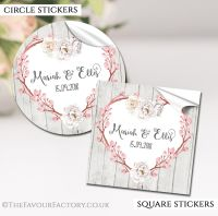 Personalised Wedding Stickers Boho Floral Branch Heart