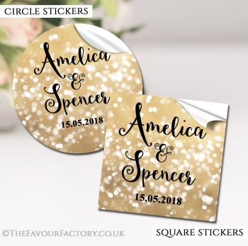 Wedding Favour Stickers Personalised Bokeh Sparkles Gold