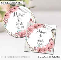 Personalised Wedding Stickers Boho Floral Wreath