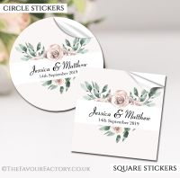 Personalised Wedding Favour Stickers Floral Heart Frame