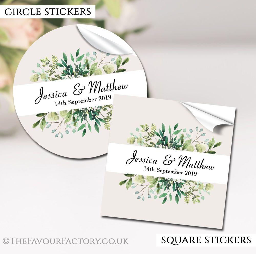 Personalised Wedding Stickers Botanical Leaves