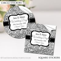 Personalised Wedding Stickers Silver Glitter